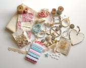 Lovely pink and pretty shabby chic destash lot, antique lace & buttons, and more