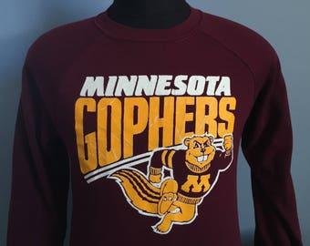80s Vintage Minnesota Golden Gophers University ncaa college Sweatshirt - LARGE