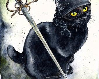 Dread Pirate Diesel: Fine Art Watercolour Black Cat Princess Bride Print