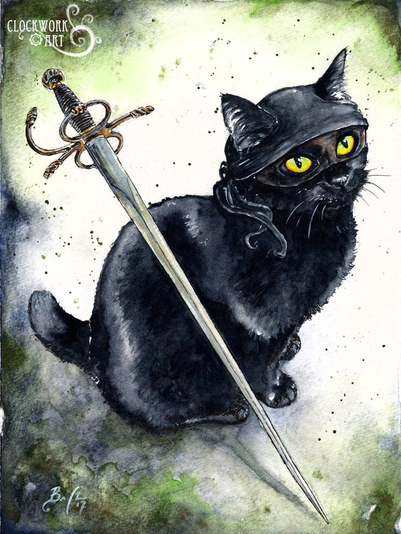 Dread Pirate Diesel: Fine Art Watercolour Black Cat The Princess Bride Print Sword
