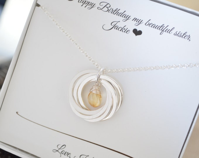 60th Birthday gift for mom, Sister necklace, 60th Birthday gift women, November birthstone necklace, 6th Anniversary gift, Citrine necklace