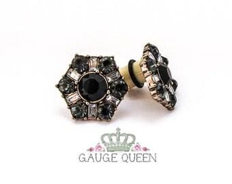"""Black Crystal Hex Plugs / Gauges. 00g / 10mm, 1/2"""" / 12.5mm, 9/16"""" / 14mm, 5/8"""" / 16mm"""