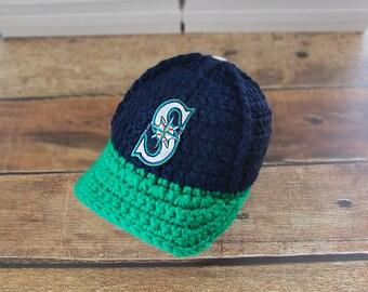Newborn boy hat, baby boys newborn hat, Seattle Mariners baby boy hat, hat baby boy, newborn girl, newborn hat, boy baby newborn infant
