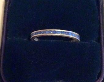 IN VENDITA - eternità anello zaffiro dimensioni 5 Platinum