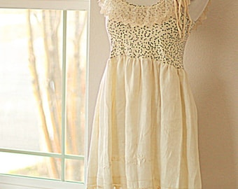Romantic Vintage Linen Lace Mori Girl Tank Top / Babydoll Upcycled Shirt