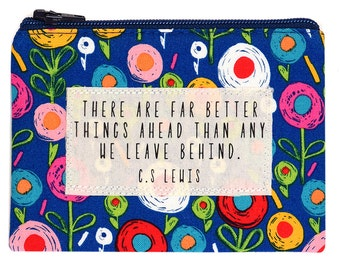 Small Quote Purse C. S. Lewis Sketchy Doodle Flowers Print