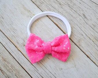 Sparkle bow nylon headband, Valentines day headband, one size nylon headband, baby headband, newborn headband