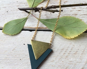 Triangle Necklace Geometric Necklace Triangle Jewellery Geometric Jewellery Wood and Brass Jewellery Gifts for Her Stocking Filler -Red