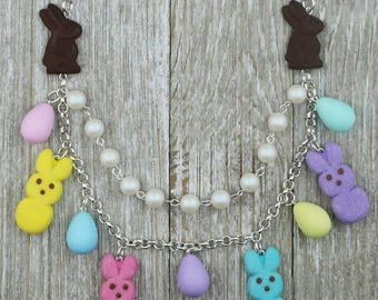 Peeps Inspired Bunny Necklace with Chocolate Bunny Necklace - Food Jewelry, Kawaii Jewelry, Polymer Clay Jewelry, Statement Necklace