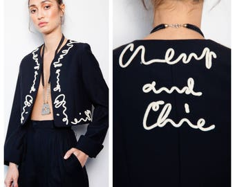 best vintage 80s/90s MOSCHINO Cheap and Chic cursive script cropped bolero jacket