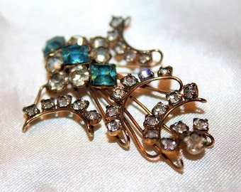 SALE! P&F Vintage Couture 12K Gold Filled Sky Blue Translucent Rhinestone Impeccable Brooch BD1