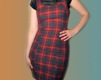 90s Plaid Schoolgirl Overall Mini Dress