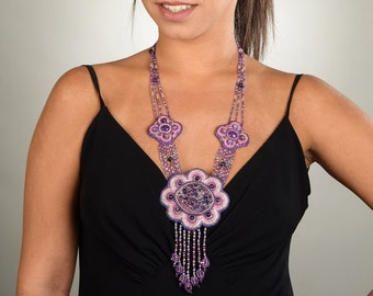 Pink Statement Necklace Beaded jewelry Purple necklace Long necklace Gemstone necklace Unique handmade jewelry High quality jewelry OOAK