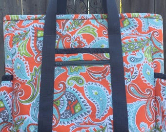 Leather Bottom Large Tote Bag with Pockets for teacher, nurse, travel, work, professional, diaper bag