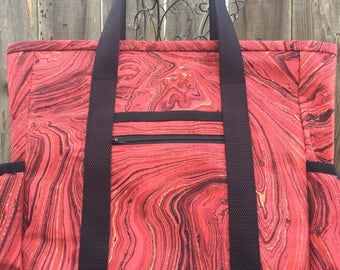 Teacher Tote, Travel Tote, Leather Bottom Large Tote Bag with Pockets, Diaper Bag, Kitchen Sink Tote, Professional Tote, Teacher Bag