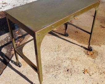 1940's, Vintage Industrial UHL Petite Industrial Toledo Desk. Steel Construction. Classic Industrial Petite Task Desk, Time Worn Patina