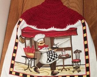Crochet Top Towel, Hanging Hand Towel, Kitchen Towel, Dish Towel, Coffee Towel