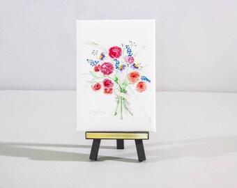 Wild flower desk decor, watercolor art print with mini easel, Gift under 25 for her, gift for teacher, hostess gift,  bright, vivid