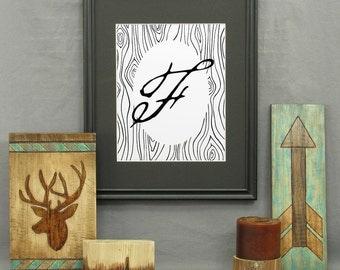 Large Letter F Print, printable letter art, typography, monogram art, modern rustic décor, alphabet, letters, poster, initials, wood grain