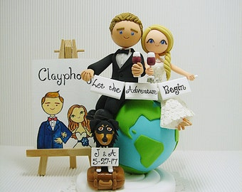 Traveling  themed with dog custom wedding cake topper