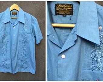 Vintage Juan Carlos Guayabara Shirt // Blue Traditional Mexican Wedding Shirt - Size Large