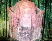 1970s Burnout Velvet Stevie Nicks Pastel Pink Sheer Fringe Kimono Duster