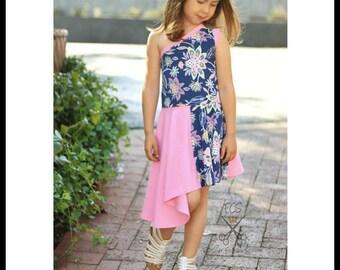 Girls Dress PDF Sewing Pattern, Knit Dress PDF Sewing Pattern,  Euro Girls Pattern, Sewing pattern, Kids Sewing, Girls sewing, Asymmetrical
