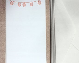 Flat Card Set with Letterpress Lanterns (vertical)