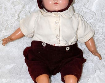 Vintage 1950s R & B Doll - Cloth Body - Hard Plastic Head with Sleep Eyes - Vinyl Arms and Legs - Marked on Back of Head - Boy Doll - HTF