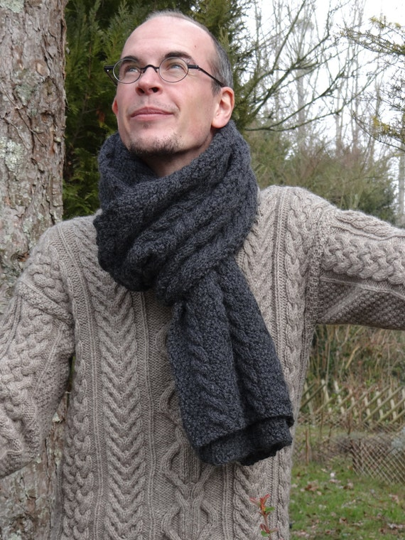 Extra long Man Scarf - extra long scarf for men - mens celtic long scarf  - very soft yarn - wool & alpaca - made to order