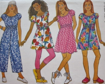 Girls Dress /Top / Jumpsuit Sewing Pattern /Butterick 3466/  Leggings /UNCUT/All Sizes Included