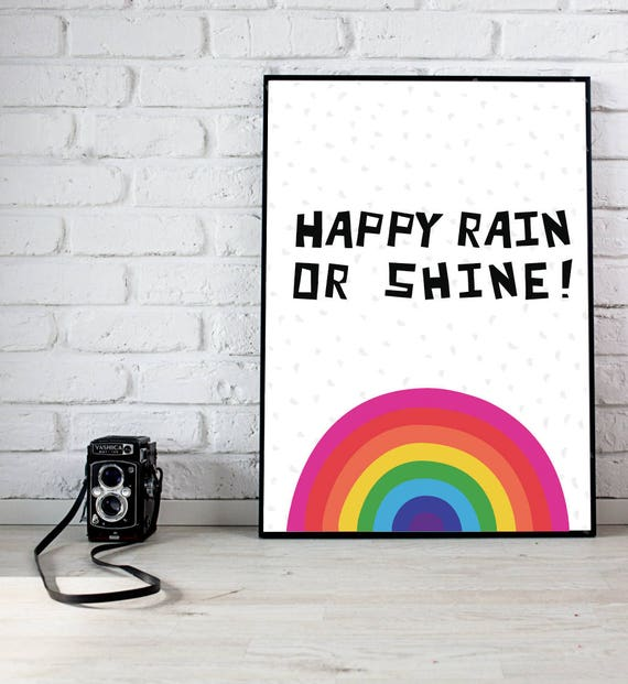Bold Baby Girl Playroom Nursery Happy Rain or Shine Rainbow with Clouds and Rain Kawaii Cute Modern Trendy Print - Digital Instant Download