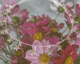 Silver Dainty Star Necklace - Delicate Choker, Star Charm Choker