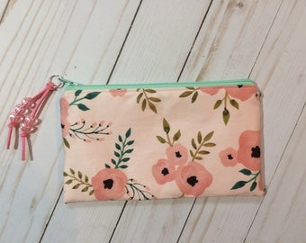 Coral and Mint Floral Zipper Pouch. Pink and Mint Makeup Bag. Botanical Zipper Pouch. Peach and Mint. Suede Zipper Pull. Acrylic Beads.