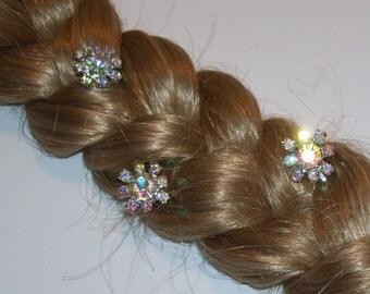 5 ELSA HAIR PINS, Easter Basket Stuffer, Iridescent Snowflake Pins, Winter Hair Pins, Rhinestone Snowflake Hair Bobby Pins