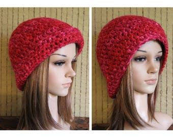 Knit Hat, Red Men Womens Hat, Brim Up or Down Wool Beanie, Hat, Hand Knit Beanie, Warm Winter Snow Hat Chunky Beanie, All Colours 3 Sizes