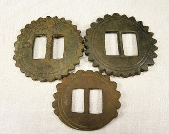 Antique Huge Brass Button - archaeological excavations - set of 3 - b130