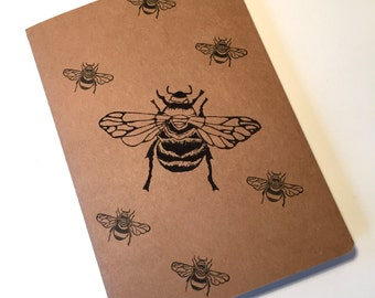 Bumble bee print note book | Honey bee print | A5 Notebook | Cahier Journal | Lined pages | Lino print | Handmade |