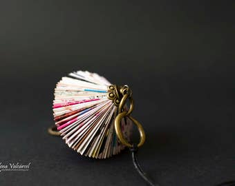 Paper Necklace - Paper Jewelry - Paper Art - Origami miniature Book Sculpture Necklace