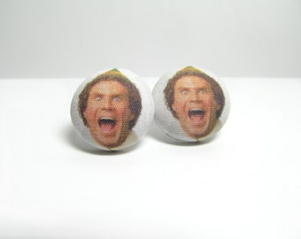 Buddy The Elf Fabric Button Earrings