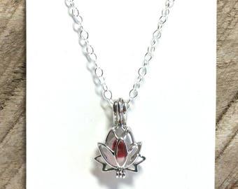 English Sea Glass Necklace, Red & White, Sea Glass Pendant, Lotus Flower Locket, Seaham Beach Glass, Sea Glass Locket, Yoga, Zen Jewelry