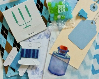 Letter Writing Set, Snail Mail Kit - Blue, Stationery, Journal Accessories, Scrapbooking, Cards, Letters, Envelopes, Washi Tape, Paper Clips