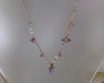 Pink amethyst necklace with peridot pink tourmaline amethyst 14k gold filled gemstone handmade MLMR item 699