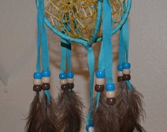 Double Dreamcatcher, 4 Inch 3D Double Dream Catchers, 4 Inch Turquoise or Royal Blue Double Dreamcatcher, Navajo 4 Inch Double Dreamcatcher
