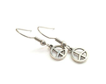 Silver Peace Sign Earrings with Stainless Steel Earwires - Tibetan Silver