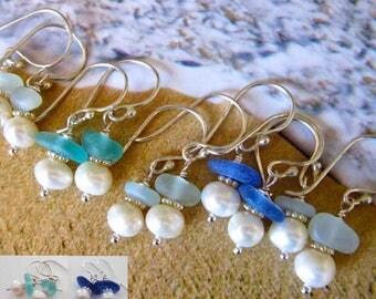 Beach Wedding Sea Glass and Pearl Earrings, Bride/Bridesmaids/Hawaiian Sea Glass Earrings/Wedding Jewelry/Hawaiian Jewelry/Beach Earrings