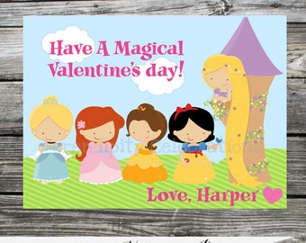 Printable Valentine Cards, Princess Valentine's Day Cards, Classroom Cards, Valentine's Day,  Kids Valentine Cards, DIY Girl Valentine Cards