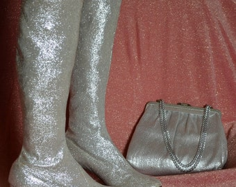1960s Brilliant Silver Lame Go Go Boots with Matching Handbag Size 7 B
