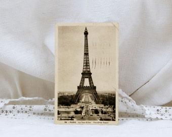 Vintage French Sepia Postcard, Eiffel Tower, French Decor, Vintage Parisian Decor, Shabby, Provencal, Art Deco, Vacation, Europe, France