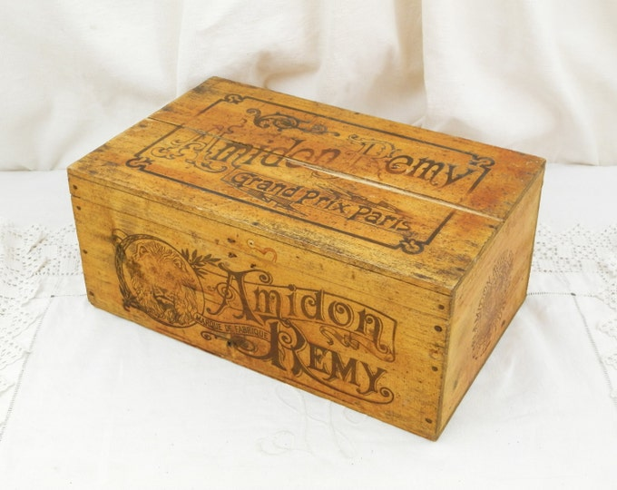 Large Antique French Wooden Rice Starch Amidon Remy Box, Retro Interior, Gift, Brocante, Shabby, Chateau, French Country Decor, Collectible,